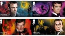 James Bond stamps featuring actors who've played the spy over the years