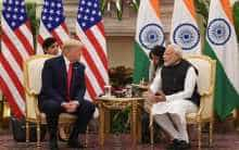 Prime Minister Narendra Modi speaks during a meeting with US President Donald Trump at Hyderabad House in New Delhi