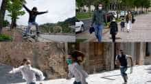 Children reclaim streets in Spain, after government eases down lockdown