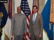 India's defence minister with US defence secretary Mark Esper