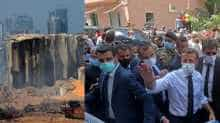 French President Macron visits Beirut blast site