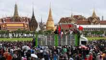 Pro-democracy protesters attend a mass rally to call for the ouster of prime minister Prayuth Chan-ocha's government and reforms in the monarchy,