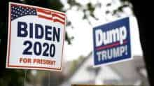 Yard signs supporting Democratic US presidential nominee and former Vice President Joe Biden and against US President Donald Trump are seen outside of a house in Lancaster, Pennsylvania