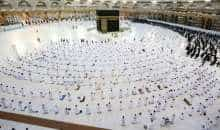 Muslim worshippers pray around the Kaaba in the Grand Mosque complex, Islam's holiest shrine, in Saudi Arabia's holy city of Mecca on November 1, 2020, as authorities expand the year-round Umrah pilgrimage to accommodate more worshippers while relaxing COVID-19 coronavirus pandemic curbs