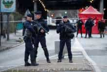 FILE PHOTO: French police secure an area in Villejuif near Paris, France, January 3, 2020 after police shot dead a man who tried to stab several people in a public park.