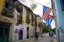 Cuban and American flags in Havana