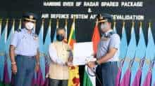 Indian Envoy to Sri Lanka Gopal Baglay handing over radar spares. Pic Courtesy: Indian High Commission