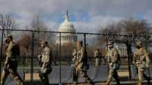 Members of the National Guard patrol near the US Capitol building ahead of US President-elect Joe Biden's inauguration, in Washington, US