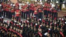 Cadets march along Rajpath during the Republic Day Parade in New Delhi on January 26, 2021.