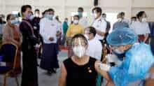 Myanmar State Counsellor Aung San Suu Kyi visits a hospital as medical workers receive the AstraZeneca's COVISHIELD coronavirus disease (COVID-19) vaccine in Naypyitaw, Myanmar