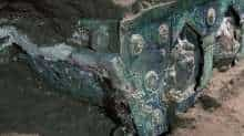 An ancient-Roman ceremonial carriage is discovered in a dig near the ancient Roman city of Pompeii, destroyed in 79 AD in volcanic eruption, Italy