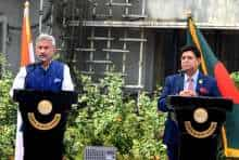 India's external affairs minister S Jaishankar with his Bangladesh counterpart foreign minister A K Abdul Momen during a joint press conference.