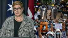 Australia's Foreign Minister Marise Payne and protesters in Myanmar