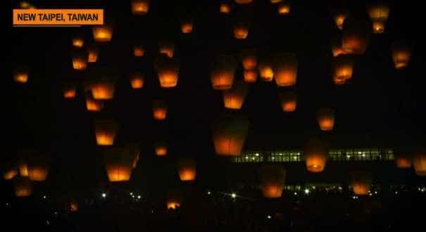 Taiwan's skies light up in annual lantern festival