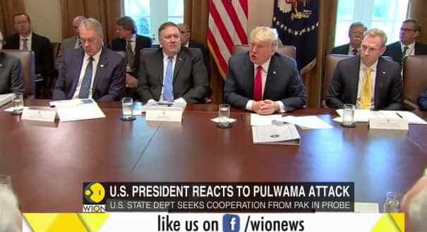 US President Donald Trump reacts to Pulwama attack