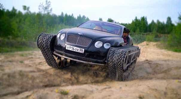 Russian enthusiast puts Bentley on tank tracks