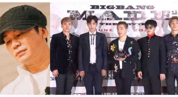 Members of the K-Pop band Big Bang and the founder.