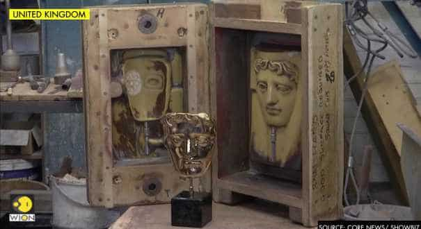 As the awards race heats up, BAFTA statues are forged from molten metal