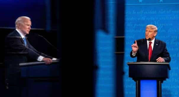 President Donald Trump and Democratic presidential nominee Joe Biden speak during the final presidential debate at Belmont University in Nashville, Tenn., Oct. 22, 2020. (Erin Schaff © 2020 The New York Times Company)