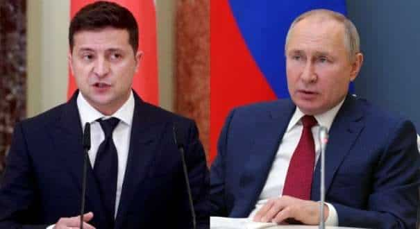 File photos of Ukraine President Volodymyr Zelensky and Russian President Vladimir Putin.
