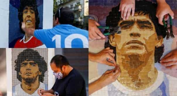 Argentines bring legend Diego Maradona back to life with mosiacs