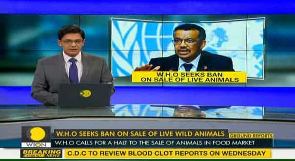 WHO calls for a halt on sale of live wild animals in food market