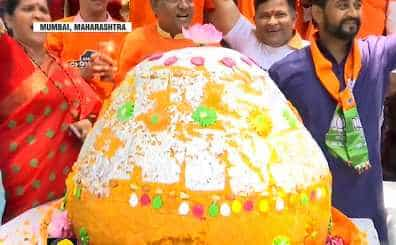 BJP party workers celebrate in West Bengal and Mumbai
