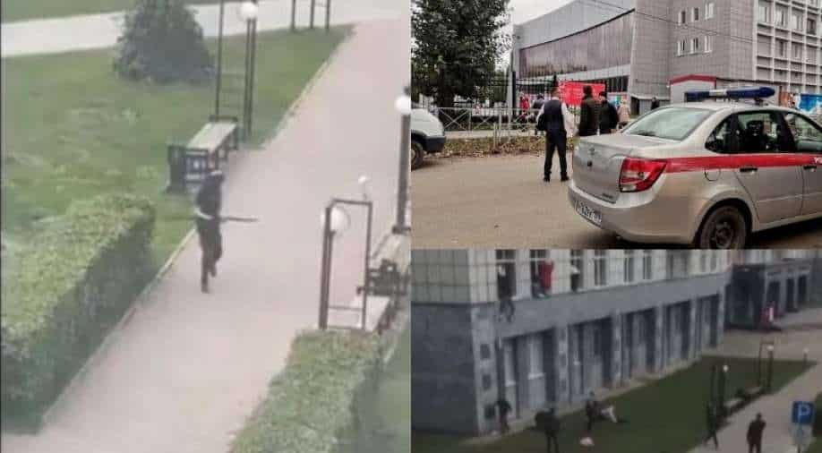 Watch: Shooter walks into Russian university; horrific images emerge of students jumping off campus building
